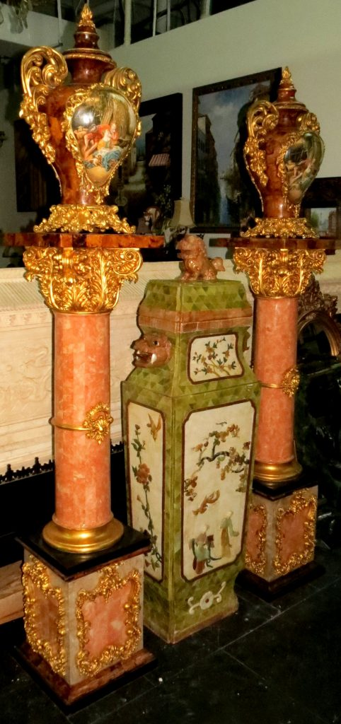 Pair of Pedestals w/ Urns - Gilt Dore and Turtle Image