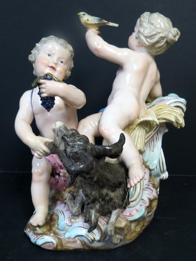 Meissen Porcelain Group - Boys w/ Coat Original Image