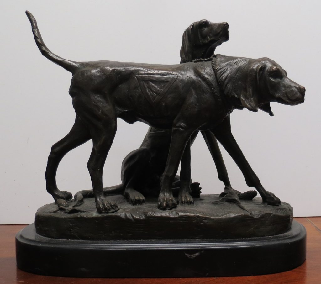 A. Cain - Bronze Dogs - Marble Base H: 10 Image