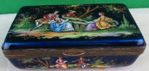 "Magnificent Box - Enamel Over Silver - 3.5"" x 2"" x 1"" Image"