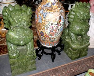 "Pair of Jade Lions - H: 39"" W: 20"" D: 18"" Image"