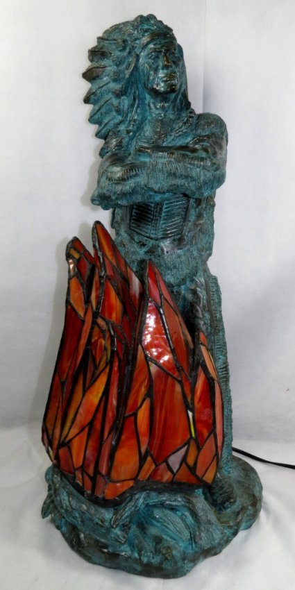 "Bronze - Indian Sculpture & Lamp - H: 28"" - Signed Image"