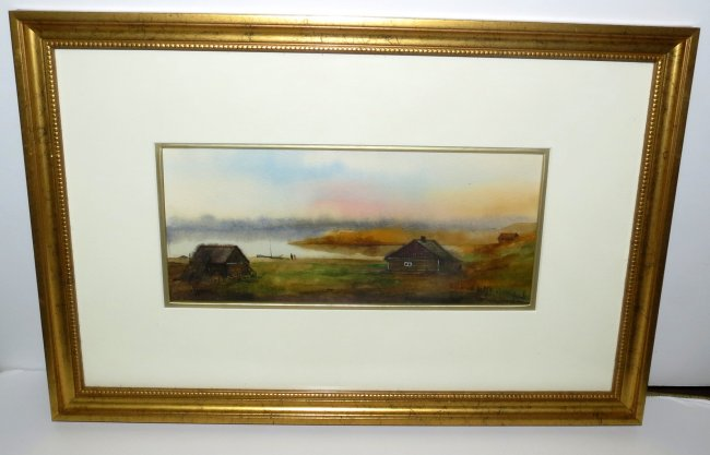 "Russian Watercolor By M. Frihoff - Frame 15"" x 10"" COA Image"