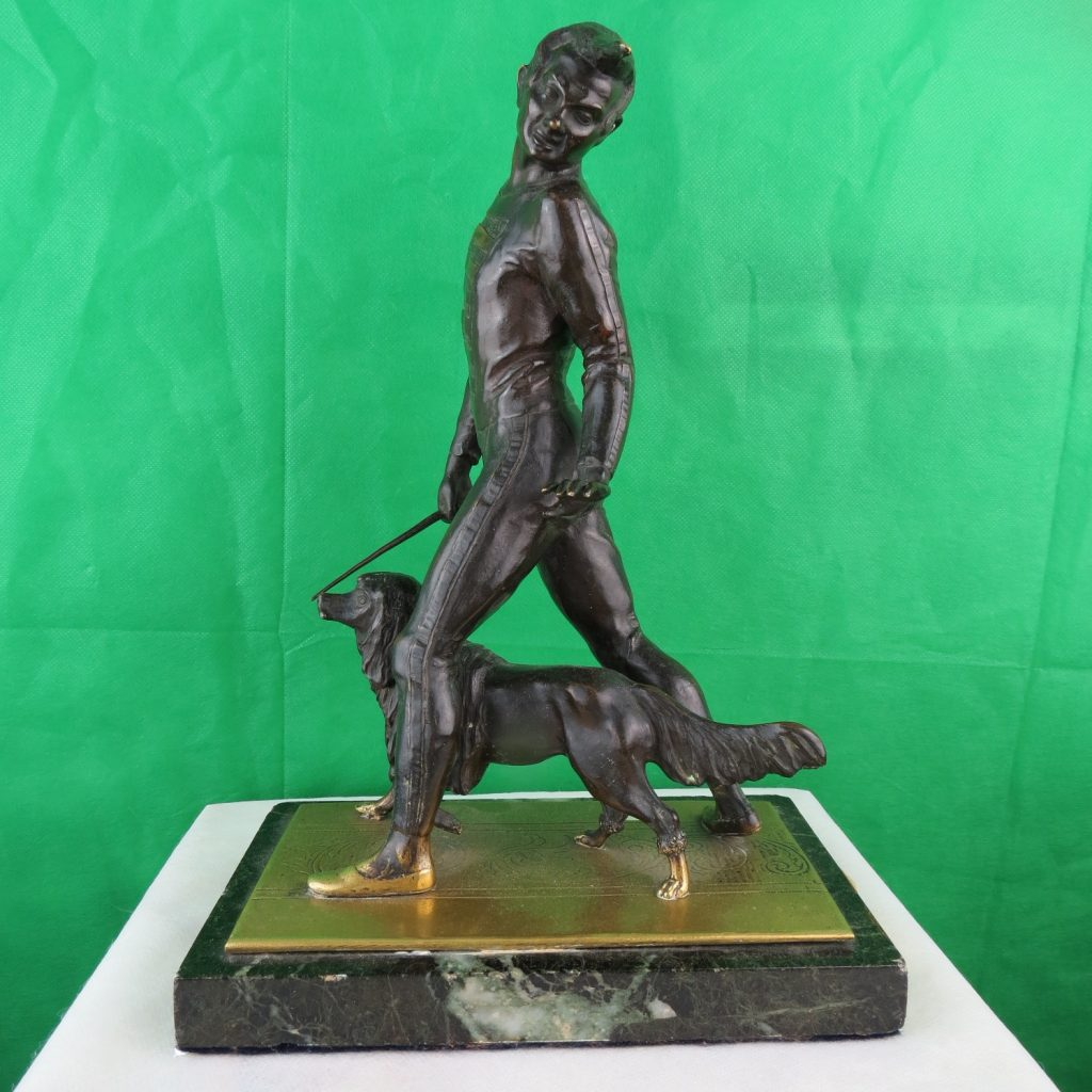"Bronze Dog Trainer - France - C.1920. - H 12.5"" Image"