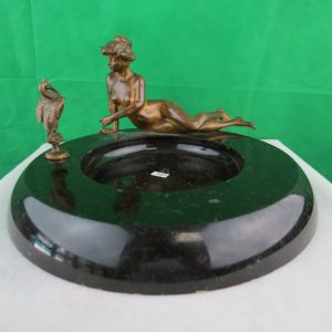 Marble, Bronze - Tray - Reclining Lady w/ Bird - 1900 Image