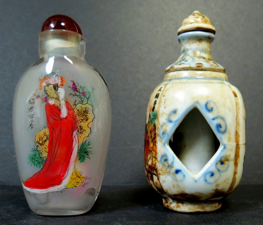 Set of 2 Snuff Bottles - Porcelain - Glass Image