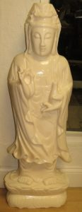 "Sculpture of Qinjin - White Jade - H: 40"" W: 14"" Image"