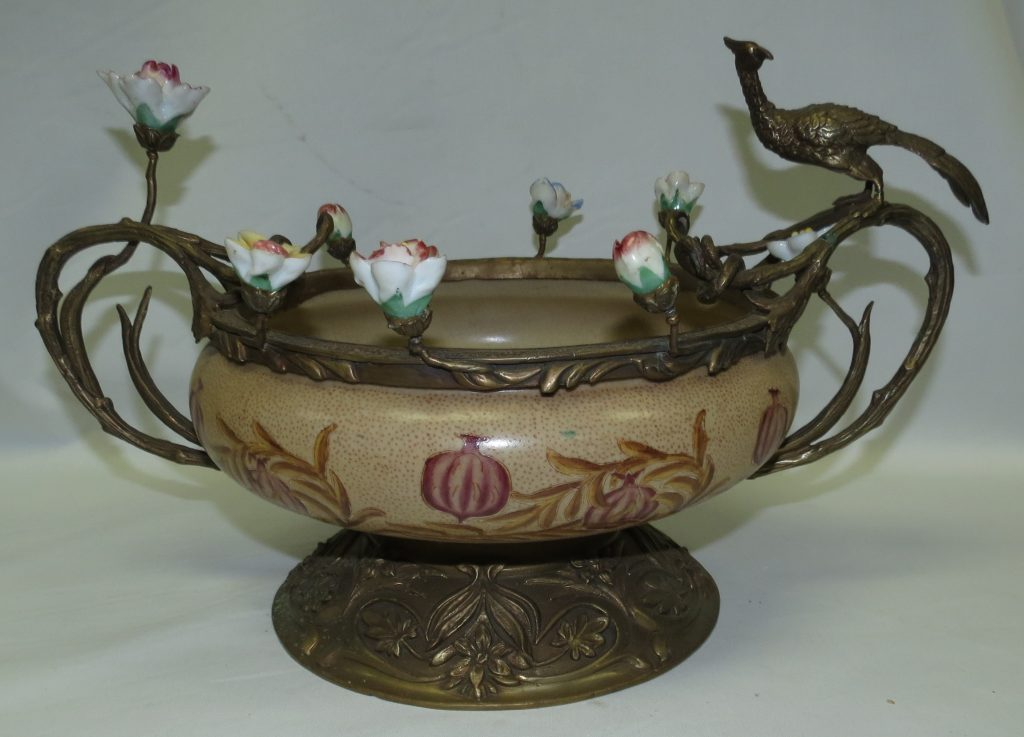 Bronze & Ceramic Center Piece w/ Birds Image