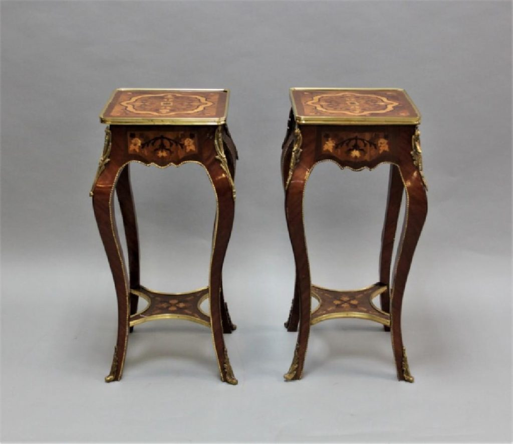 Pair of Tables w/ Marquetry & Bronze - Louis XV Image