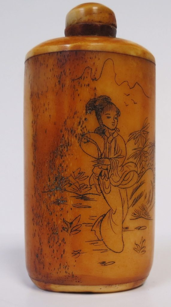 """Chinese - Bone - Snuff Bottle - H: 3"""" - Nice Condition Image"""
