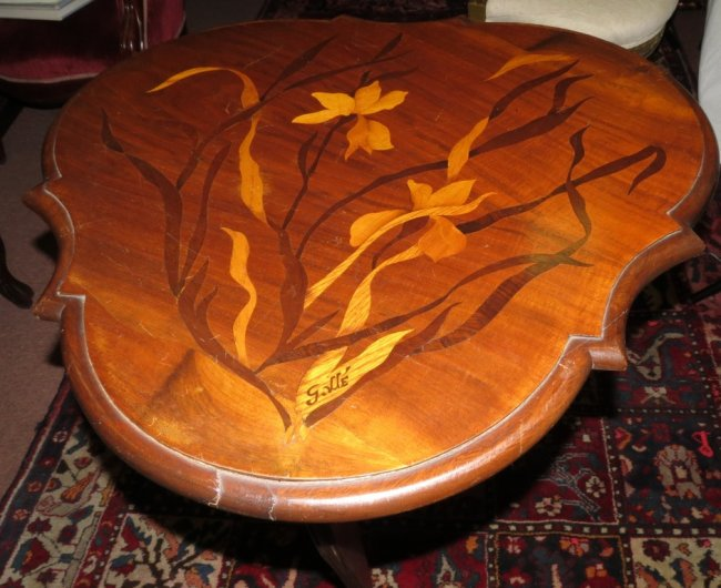 """Galle Table - Marqueterie - Signed - H: 33"""" W: 29"""" D: 27"""" Image"""