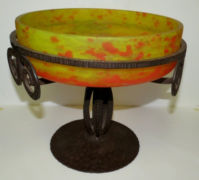 """Lorraine French Glass & Iron Centerpiece - H: 10"""" D: 10"""" Image"""