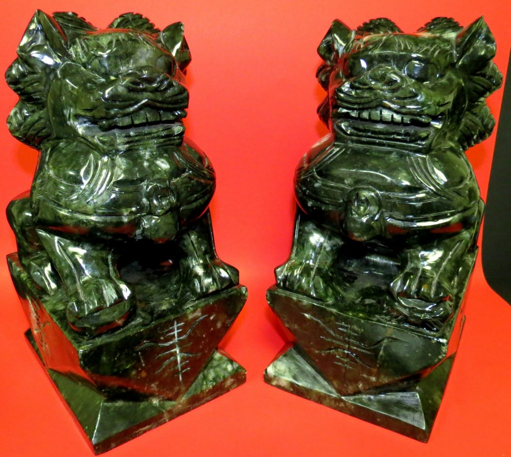 """Pair of Foo Lions Sculptures - Green Stone - H: 12"""" Image"""
