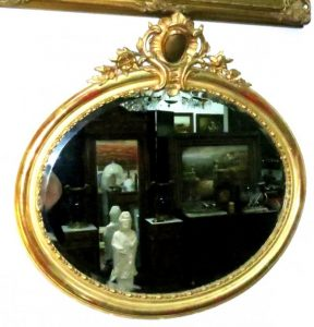 """Oval Mirror - Gold Leaf - French - 40"""" x 38"""" Image"""