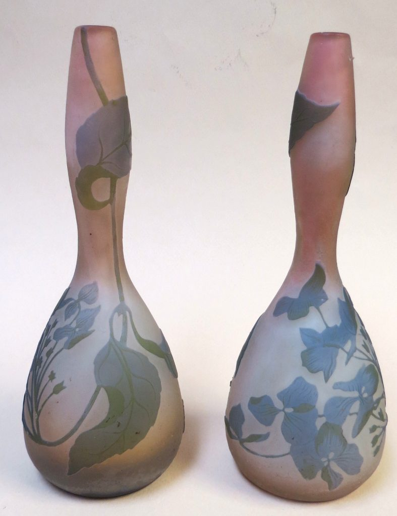 """Authentic Pair of Galle Cameo Glass Vases H: 8"""" Image"""